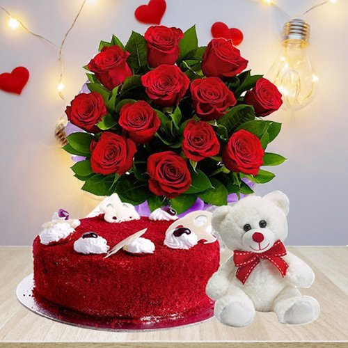 Delightful Red Roses Bouquet with Red Velvet Cake N Teddy