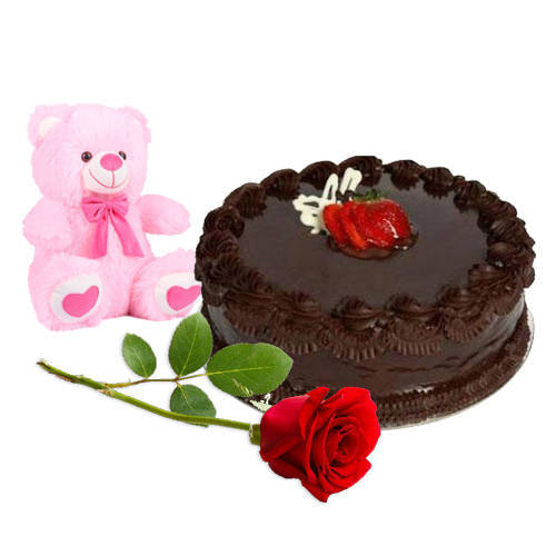 Yummy Chocolate Cake with Teddy N Red Rose