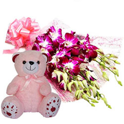 Marvelous Orchids Bunch with Teddy
