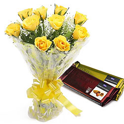 Pure passion Bouquet of Yellow Roses with Cadbury Chocolates
