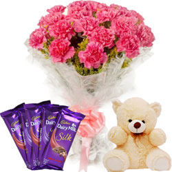 Lovely Bouquet of Carnations with Teddy N Chocolates