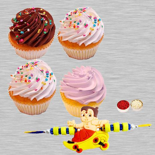 Cup Cakes with Kids Rakhi