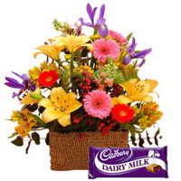 Splendid Mixed Floral Bunch and Cadburys Dairy Milk Chocolate