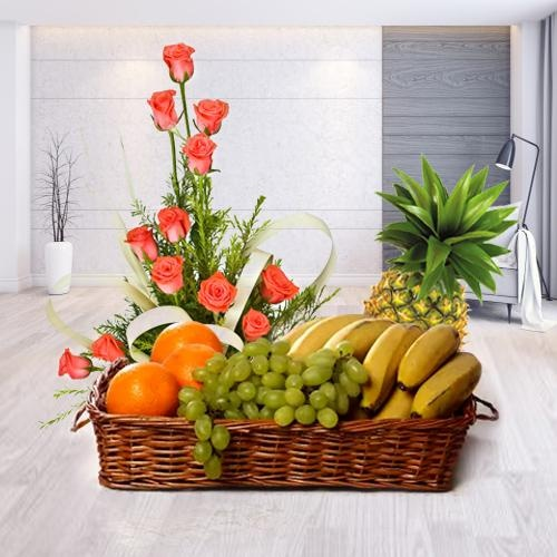 Basket of Fresh Fruits N Pink Roses