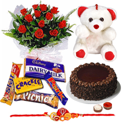 Stunning Raksha Bandhan Delight Gift of Cake, Roses, Soft Teddy and Assorted Cadbury Chocolates with Rakhi, Roli Tika and Chawal