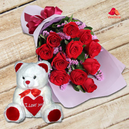Dutch Red Roses n Huggable 12 inch Teddy Bear