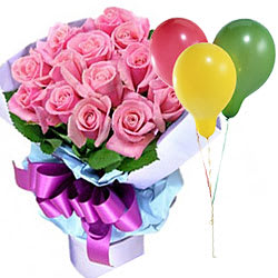 Colorful Balloons with Pink Roses