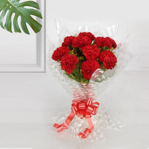 Radiant Bouquet of Red Carnations