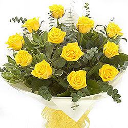Unique Moments in Love Twelve Yellow Roses Composition