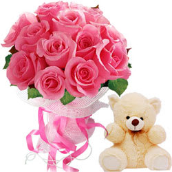 Combination of Pink Roses with Teddy
