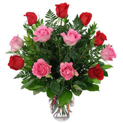 Arrangement of Assorted Roses in a Vase