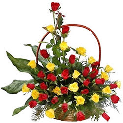 Lovely Red N Yellow Roses Basket
