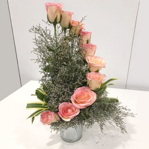 Rose Bouquet in a Glass Vase