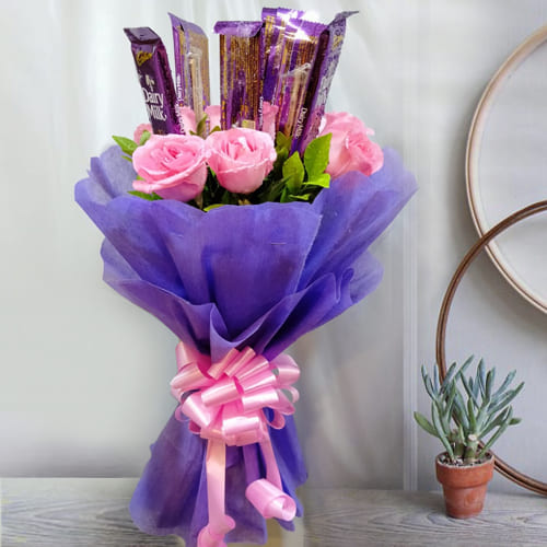 Beautiful Bouquet of Pink Roses with Cadbury Dairy Milk