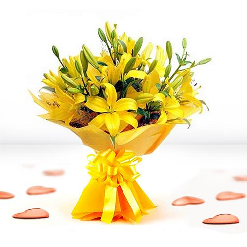 Fresh Bouquet of Yellow Lilies