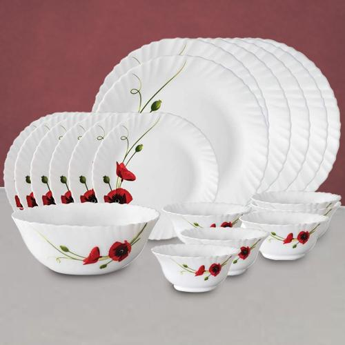 Mesmerizing Larah by Borosil Red Carnations Dinner Set