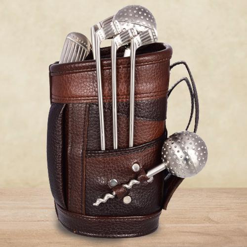 Beautiful Stainless Steel Golf Bar Set with Leatherette Bag