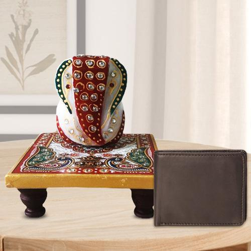 Auspicious Ganesh Marble Chowki with a Leather Wallet for Gents
