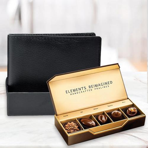 Amazing Rich Borns Black Leather Wallet with ITC Elements Premium Handcrafted Chocolates