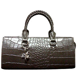 Bubbles Styled Grey Genuine Leather Ladies Leather Handbag from Cheemo