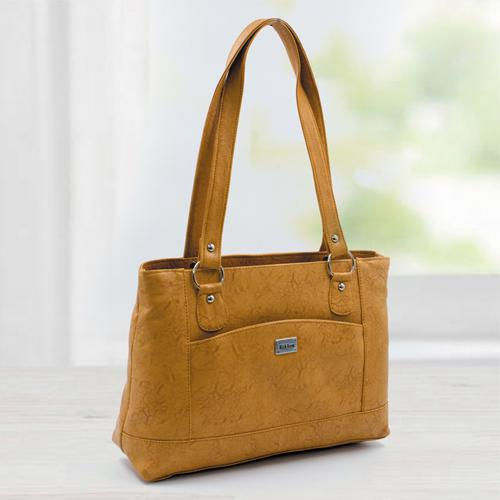 Splendid Tan Color Leather Vanity Bag for Ladies