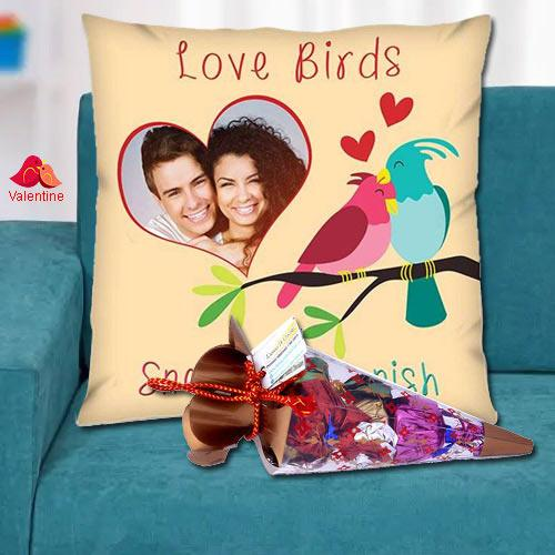 Special Personalized Cushion with a Cone of Handmade Chocolates