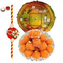 Arresting Rakhi Special Gift of Laddoo from Haldiram and Rakhi Thali along with Rakhi, Roli Tilak and Chawal