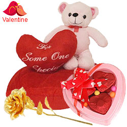 Eye-Catching Eric on Heart Love Teddy with a Golden Rose and 3 Pcs Heart Shape Chocolates