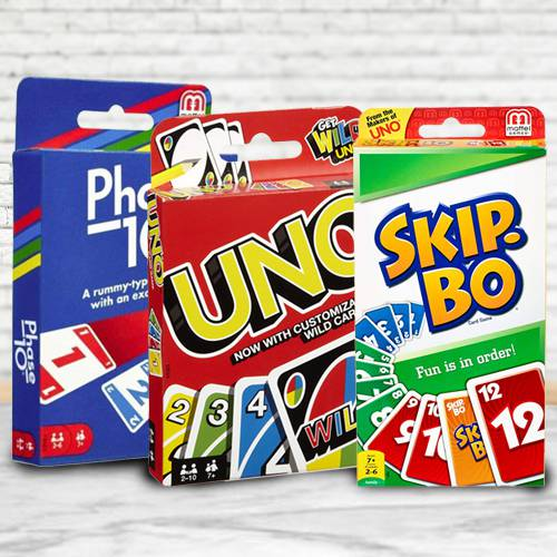 Exclusive Mattel Uno, Skip Bo N Phase 10 Card Game