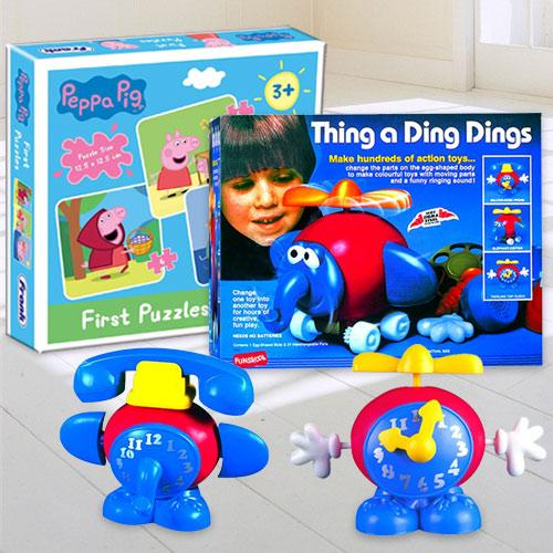 Exclusive Funskool Thing a Ding Dings N Frank Peppa Pig Puzzle Set