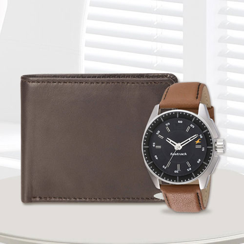 Admirable Fastrack Watch with a Brown Leather Wallet from Rich Born for Men