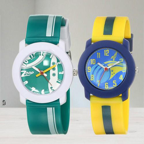 Exclusive Zoop Analogue Green N Multicolor Kids Watch