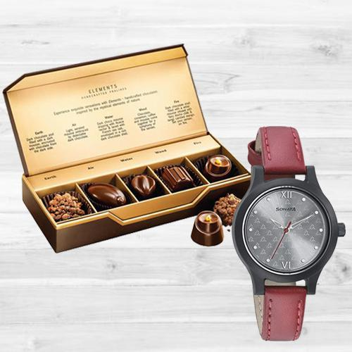 Exclusive Sonata Analog Womens Watch N Fabelle Elements Chocos