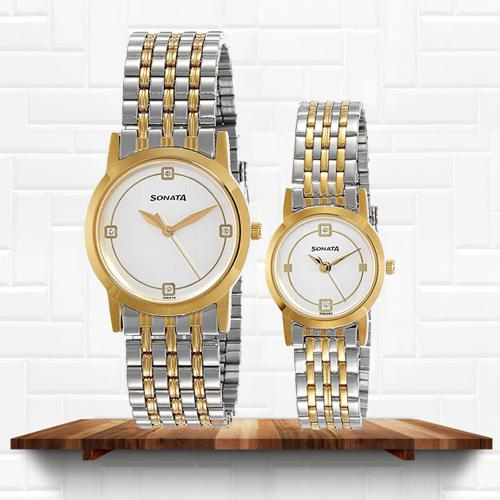 Striking Sonata Analog Multi-Color Dial Couple Watch