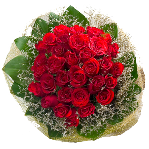 Lovely Thirty Red Roses Bouquet with Incredible Love